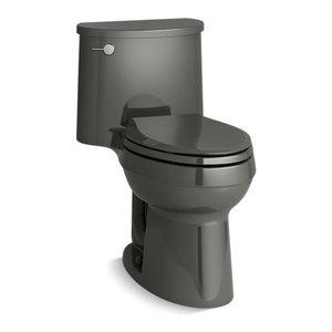 Kohler ADAir 1-Piece Elongated 1.28 GPF Toilet w/ Left-Hand Lever, Thunder Grey