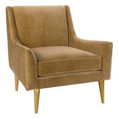 Wrenn Lounge Chair with Brass Legs - Camel Velvet