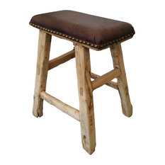 HONG DESIGN - Reclaimed Wood Stool With Leather Top - Footstools and Ottomans  sc 1 st  Houzz & Rustic Ottomans and Footstools | Houzz islam-shia.org