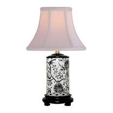 """Black and White Tapestry Porcelain Vase Table Lamp 15"""""""