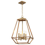 Maxim Lighting - Woodland 4-Light Foyer Pendant - Custom oval metal tubing is expertly mitered to this classic form, Woodland is a style that works in a multitude of room decors. Featuring a warm Hazel finish makes it look like real wood and accented with rich Burnished Gold clusters, this collection will be popular for years to come.