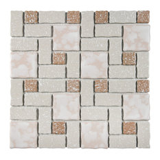 "11.75""x11.75"" Collegiate Porcelain Mosaic Floor/Wall Tile, Beige"