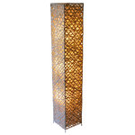 NobleSpark - Handmade Modern Bamboo Rectangle Floor Lamp - Unique design handmade bamboo woven floor lam., Nature beige bamboo was woven together to form a rectangle column shape, bamboo weave for decoration, metal frame for support.
