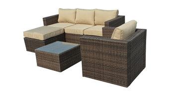 Manhattan Comfort Paisley 4-Piece Rattan Outdoor Sofa Set in Beige