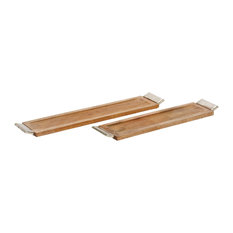 Modern Reflections Wood and Aluminum Long Trays, 2-Piece Set, Oak Brown/Silver