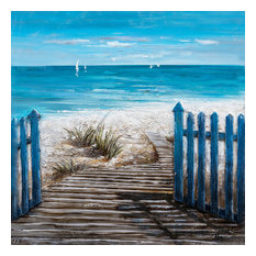 """""""A Hot Summer Day"""" Oil Painting prints on wrapped canvas, Beach Art, 40""""x40"""""""