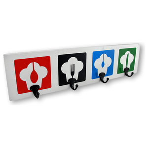 Chef Hats Four Hook Wall Plaque