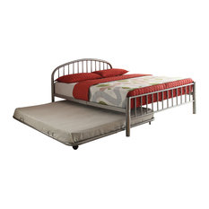 Benzara, Woodland Imprts, The Urban Port - Metal Full Bed, Slatted Style, Silver - Kids Beds
