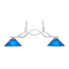 Revo 2-Light Island Aged Silver Blue Italian Glass