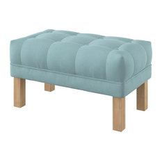 Majestic Upholstered Oak Ottoman With Square Legs, Light Blue, Medium