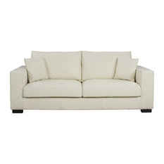 Incroyable SofaMania   Large Real Leather Modern Deep Seat 2 Seater Sofa, Off White