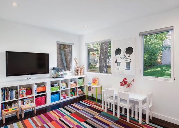 Storage, Style and Softness Makes for a Happy Playroom