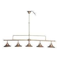 Antique Brass 5-Bulb Pendant Light, Brass
