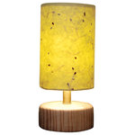 "Ember Grove LLC - 6"" Green Table Lantern With Milkweed Texture - This 6"" table lantern lamp would be great in the living room, bedroom, or entryway. It is made with our Green inted paper with hand harvested Milkweed embedded into each sheet. The paper is coated and sealed for easy dusting, cleaning and durability. The lamp measures 6"" wide by 13"" tall and the base is a hand turned piece of Maple. It comes with a 60 watt equivalent LED bulb. 60 watt incandescent bulb maximum."