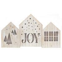"Juniper Led Light Box, Wood House, Set Of 3, 5.5""x8"", Holiday Decor"