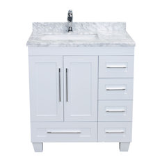"30"" Long Handles, Transitional White Bath Vanity, White Carrera Counter Top"