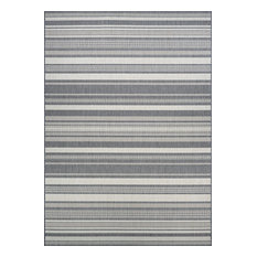 "Couristan Recife Gazebo Stripe Indoor/Outdoor Area Rug, Champagne-Gray, 5'3""x7'6"