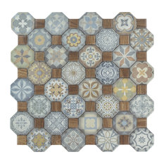 "12.25""x12.25"" Tesseract Ceramic Floor/Wall Tiles, Set of 13, Multicolored"