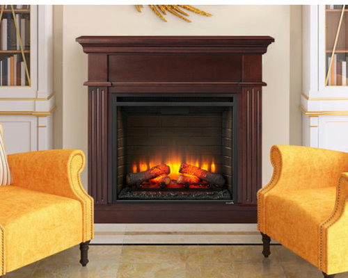 Crestwood Electric Fireplace Mantel Package in Walnut- CRESTWOODC23-WA -  Indoor Fireplaces - Electric Fireplace Mantel Packages