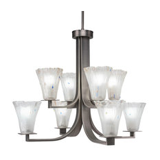 Apollo 8-Light 2-Tier Chandelier Graphite Frosted Crystal Glass