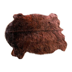 Faux Buffalo Hide Accent Rug, Brown, 5'x8'