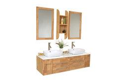 """59"""" Bellezza Natural Wood Double Vessel Sink Vanity Tolerus Chrome Faucet"""