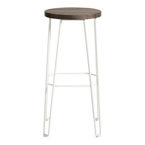 Move Bar Stool, White and Dark Brown, Large