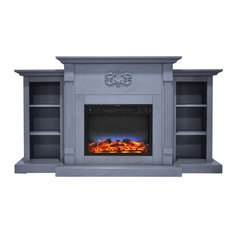 Sanoma 72-inch Electric Fireplace Slate Blue With Bookshelves LED Flame Display