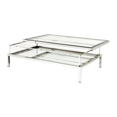 Eichholtz Harvey Coffee Table, Polished Stainless Steel