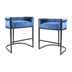 GDF Studio Best Modern Wide Bucket Upholstered Barstool, Cobalt/Black, Set of 2