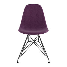 NyeKoncept Mid Century Eiffel Side Chair, Plum Purple, Gunmetal
