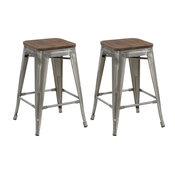 Terry Metal and Wood Counter Stools, Set of 4, 24""