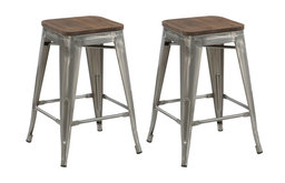 """Terry Metal and Wood Counter Stools, Set of 4, 24"""""""