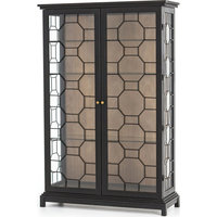 Amma Cabinet, Black, Gray Natural, Tempered Glass