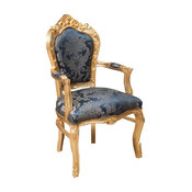 Louis XVI Fleur-de-Lys Armchair, Gold With Blue Damask