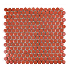 "12""x12.63"" Penny Porcelain Mosaic Tiles, Set of 10, Vermilion"