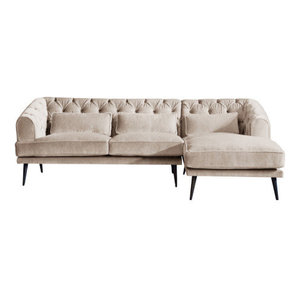 Earl Grey Chaise Sofa, Yorkstone, 3 Seater, Right Hand Facing