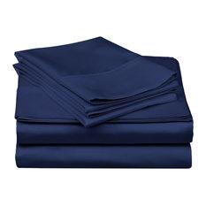 Soft Sheet Set With Deep Pocket, Cotton Blend, Queen, Royal Blue