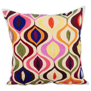 Multi Colored Embroidery 30x30 Silk Ivory Cushion Cover, Multi Galore