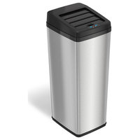 iTouchless 14 Gal Retracting Lid Sensor Trash Can + Odor Filter, Stainless Steel