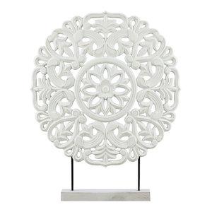 Reyes Flower Wood Ornament, Large, Matte White