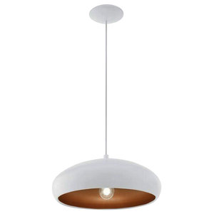 Eglo Mogano 1-Light Ceiling Light, White and Copper Finish