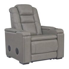 Signature Design By Ashley Boerna Leather Power Recliner In Gray