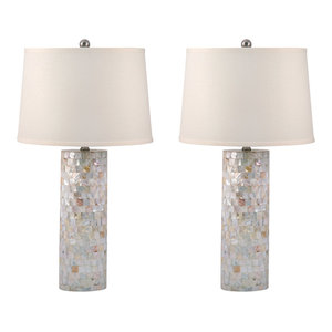 Mother of Pearl Cylinder Table Lamp, Set of 2, Standard