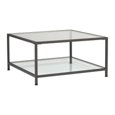 """Camber 30"""" Modern Metal and Glass Square Coffee Table in Pewter, Clear"""
