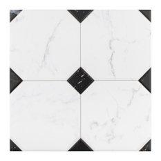 "SomerTile 13.13""x13.13"" Betera Jet Ceramic Floor and Wall Tile, Case of 9, Noir/"