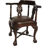 EuroLux Home - Corner Chair Chippendale Mahogany Vinyl - Product Details