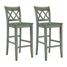 Traditional Stylish Stools Solid Wood With Footrest And Backrest Set Of 2 Pub