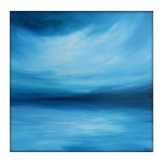 Large Abstract Painting on Canvas Modern Acrylic Skyline- 36x36- Blues, Blue-Gre