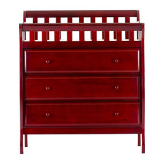 Modern Dresser, Integrated Changing Top With Curved Safety Rails, 3 Drawers, Che